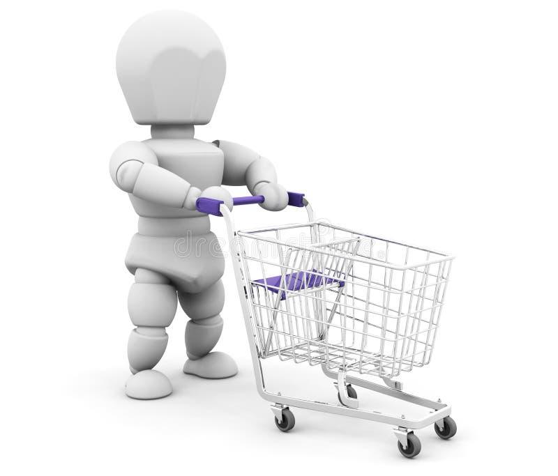 Persoon met het winkelen karretje vector illustratie