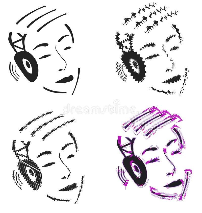 Persoon met hoofdtelefoons vector illustratie