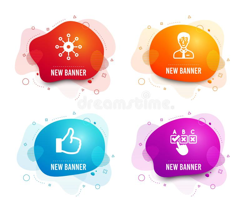 Persoon met meerdere kanalen, Zakenman en Gelijkaardige pictogrammen Correct checkbox teken Multitasking, Mannelijke gebruiker, D stock illustratie