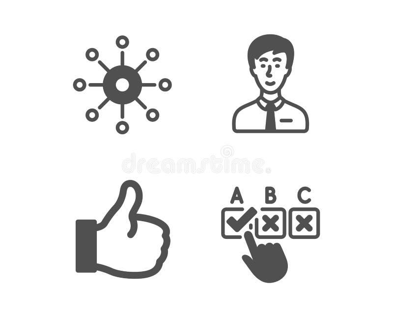 Persoon met meerdere kanalen, Zakenman en Gelijkaardige pictogrammen Correct checkbox teken Multitasking, Mannelijke gebruiker, D vector illustratie