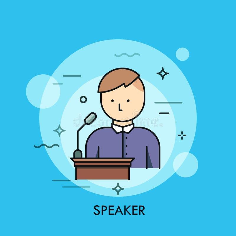 Persoon in purper overhemd die zich bij lessenaar met microfoon en het spreken bevinden Concept spreker, voorzitters of sprekers  vector illustratie
