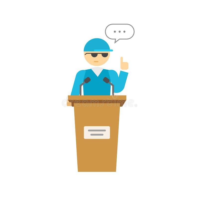Persoon van de woordvoerderspreker op podium, bedrijfswoordvoerder die, het spreken de spreken stock illustratie