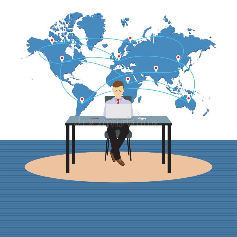 Persoon, zakenmanzitting bij de lijst stock illustratie