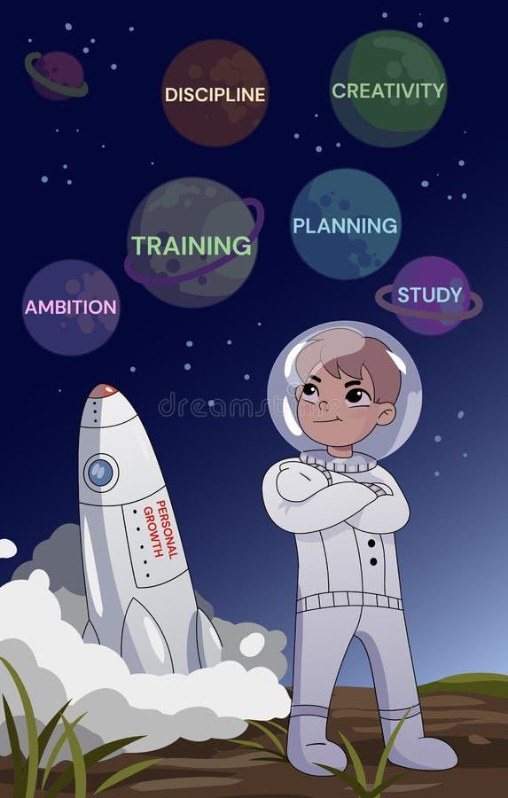 Persoonlijk de Groeiconcept Een jonge mens in een ruimte die zich met gevouwen wapens bevinden die zorgvuldig planeten met planni vector illustratie