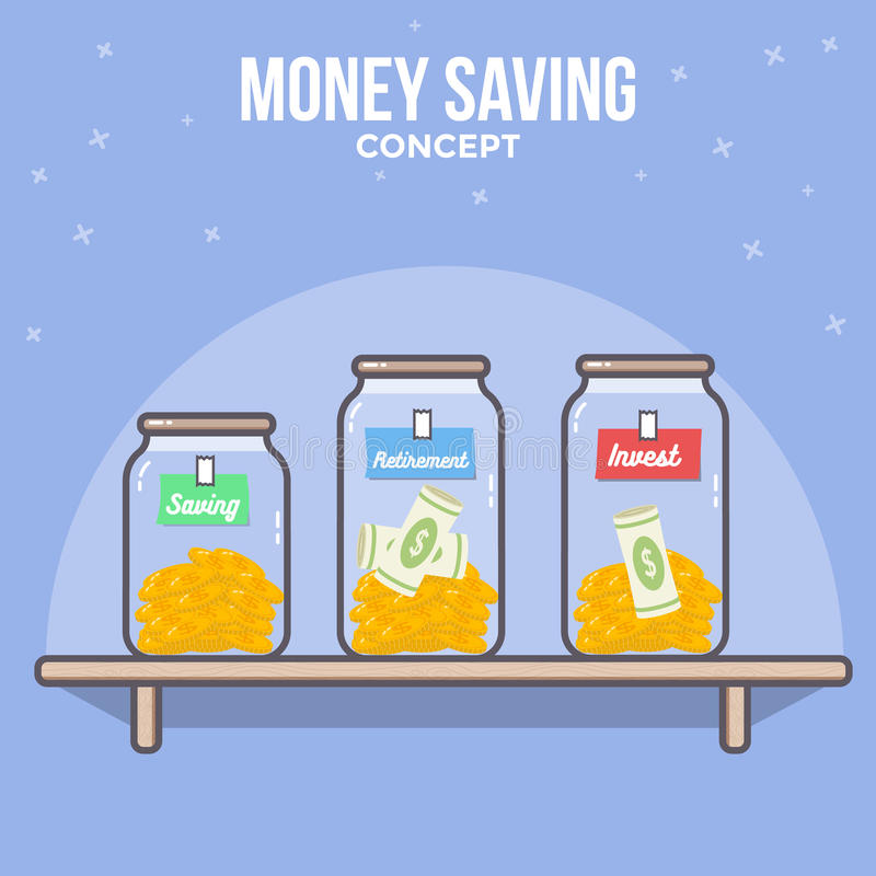 Persoonlijk financieel beheer Geldbesparing, Geldbeheer Geldplan stock illustratie