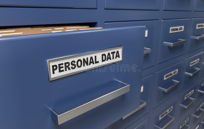 Persoonlijk gegevensbescherming en privacyconcept Heel wat kabinetten met documenten en dossiers 3D teruggegeven illustratie royalty-vrije illustratie