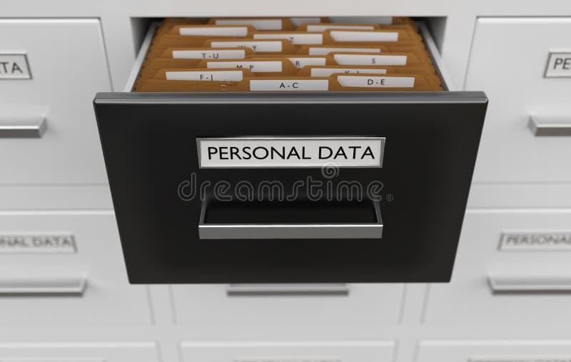 Persoonlijk gegevensbeschermingconcept Kabinetshoogtepunt van dossiers en omslagen 3D teruggegeven illustratie royalty-vrije illustratie