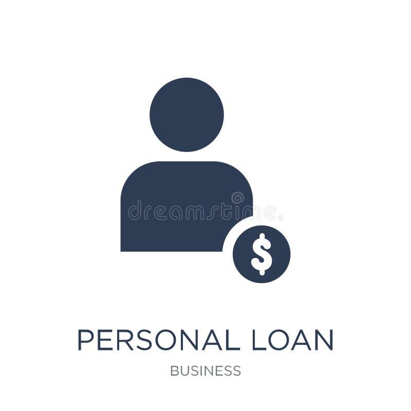 Persoonlijk leningspictogram In vlak vector Persoonlijk leningspictogram op whi vector illustratie