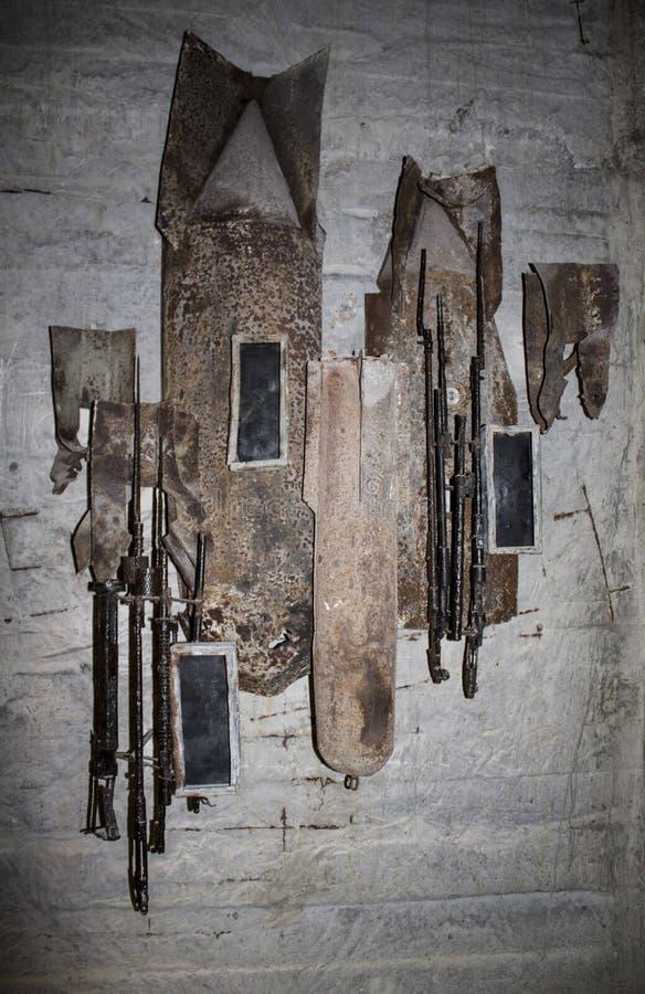 Persoonlijke bezittingen van de heldhaftige verdedigers het museum in Adzhimushkay-steengroeven Kerch royalty-vrije stock foto's