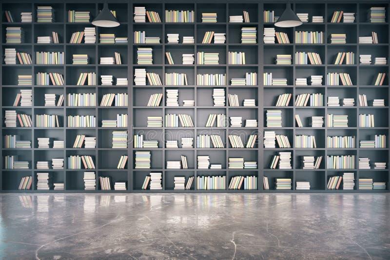 Persoonlijke bibliotheek met grote boekenkast en concrete vloer stock illustratie