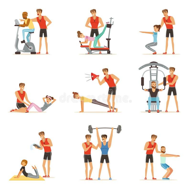 Persoonlijke de trainer of de instructeursreeks van de gymnastiekbus, mensen die onder controle van persoonlijke trainer van vect vector illustratie