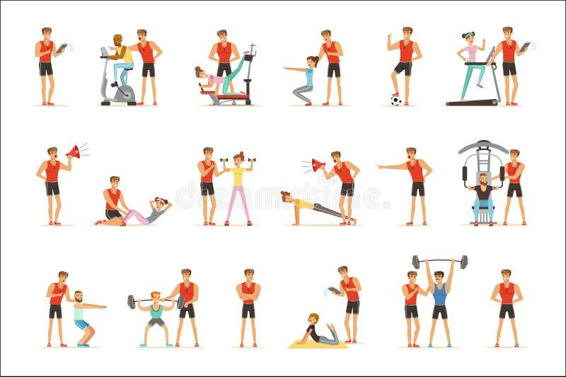 Persoonlijke de trainer of de instructeursreeks van de gymnastiekbus vectorillustraties stock illustratie
