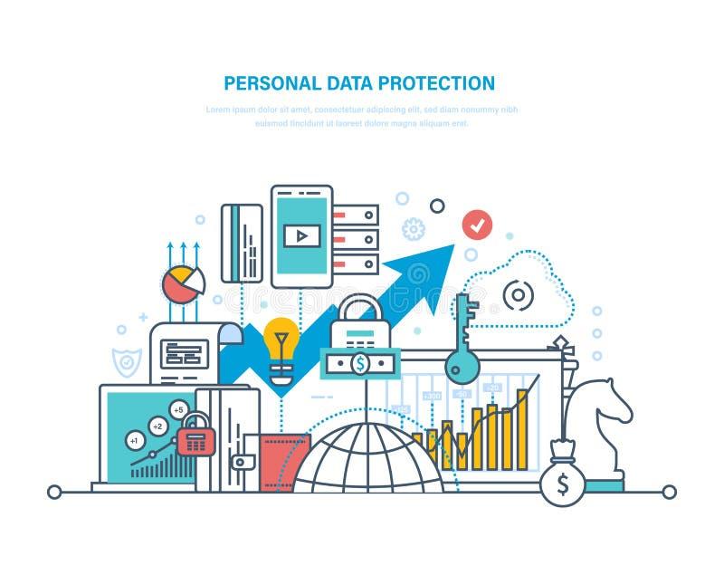 Persoonlijke gegevensbescherming Behoud en vertrouwelijkheid van informatie, veilig gegevensbestand vector illustratie
