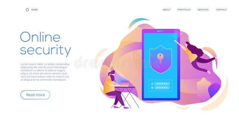 Persoonlijke gegevensbeveiliging in creatieve vlakke vectorillustratie Online computer of het mobiele concept van het bescherming royalty-vrije illustratie