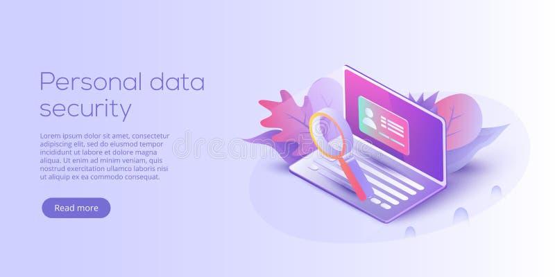 Persoonlijke gegevensbeveiliging isometrische vectorillustratie Online ser stock illustratie