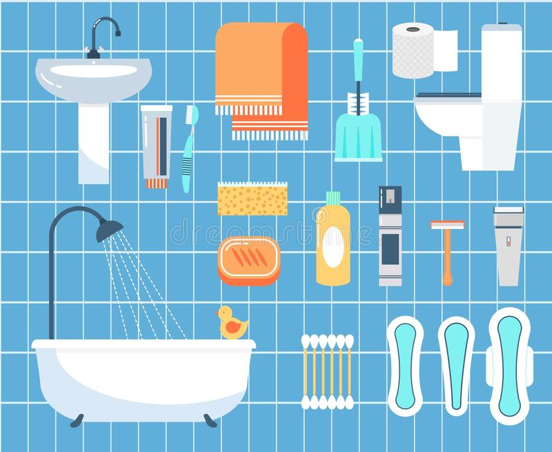 Persoonlijke geplaatste hygiëne vlakke vectorpictogrammen stock illustratie