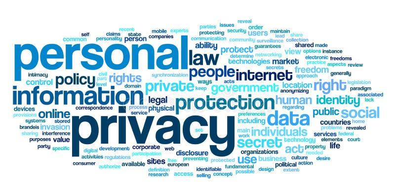 Persoonlijke privacy in de wolk van de woordmarkering stock illustratie
