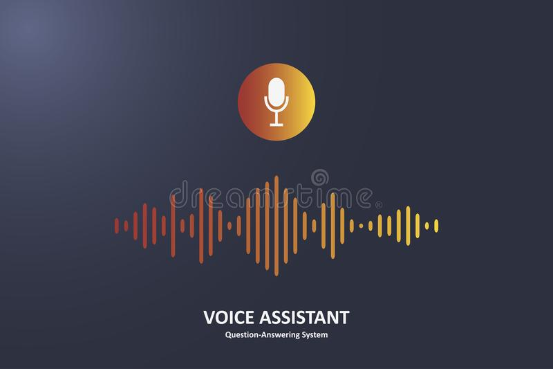 Persoonlijke stemmedewerker en het concept van het Vraag-en-antwoordsysteem Microfoonknoop en stem correcte golf royalty-vrije illustratie