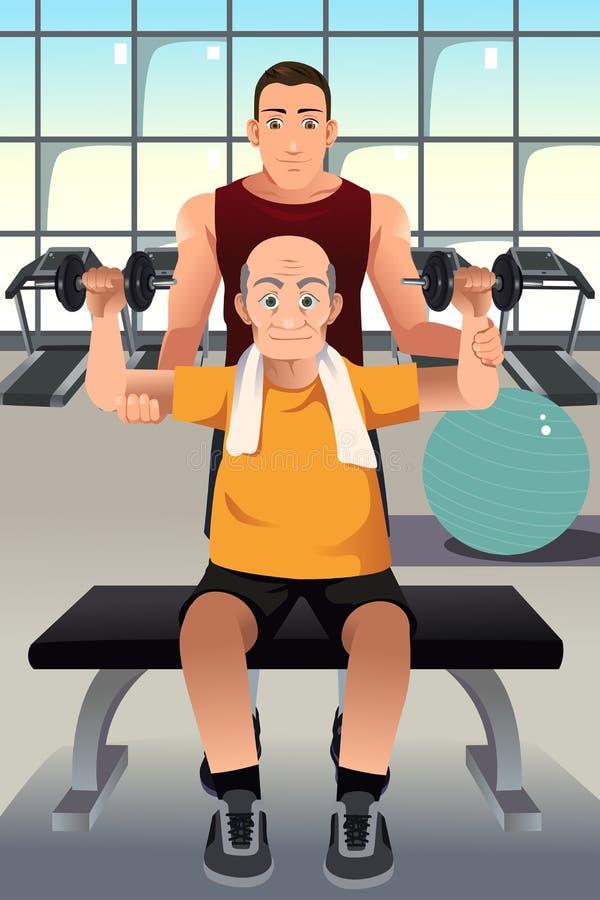 Persoonlijke trainer die een bejaarde opleiden vector illustratie
