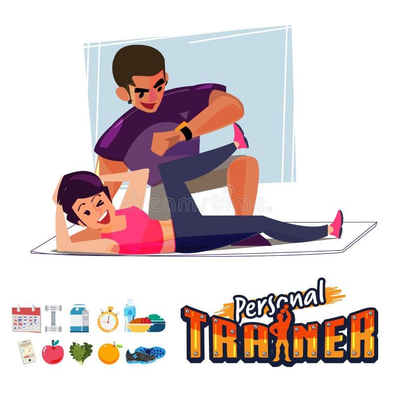 Persoonlijke Trainer met vrouw - royalty-vrije illustratie