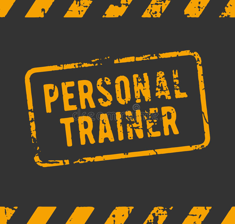 Persoonlijke trainer rubberzegel vector illustratie