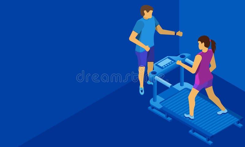 Persoonlijke trainer voor het meisje op de tredmolen Beschikbare ruimte voor tekst of informatie Achtergrond voor een uitnodiging stock illustratie