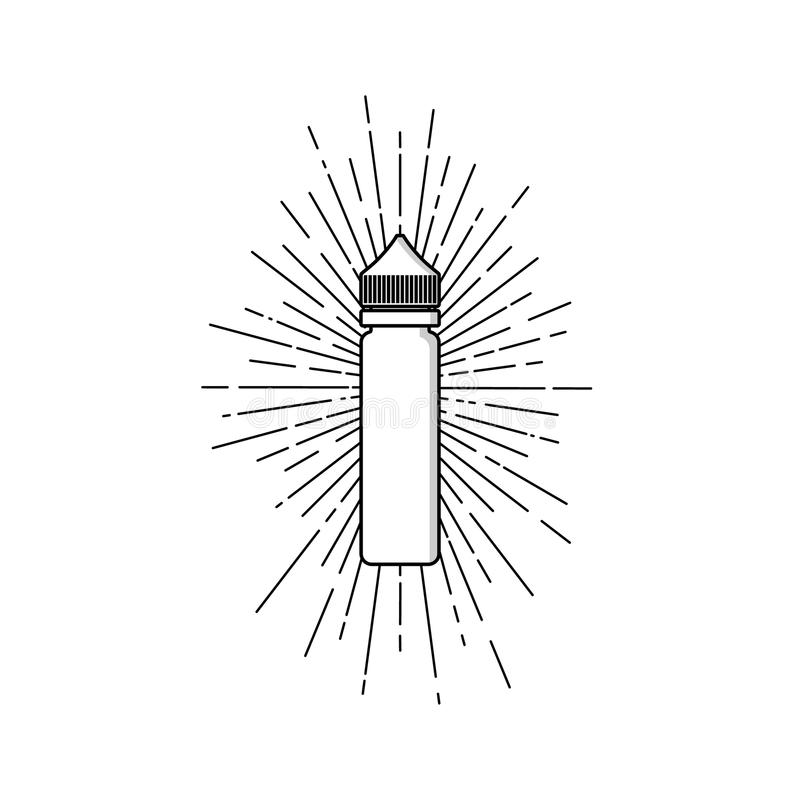 persoonlijke verstuiver van de e-sigaret e-sap vloeibare plastic de zonnestraaluitbarsting flessenvonk royalty-vrije illustratie