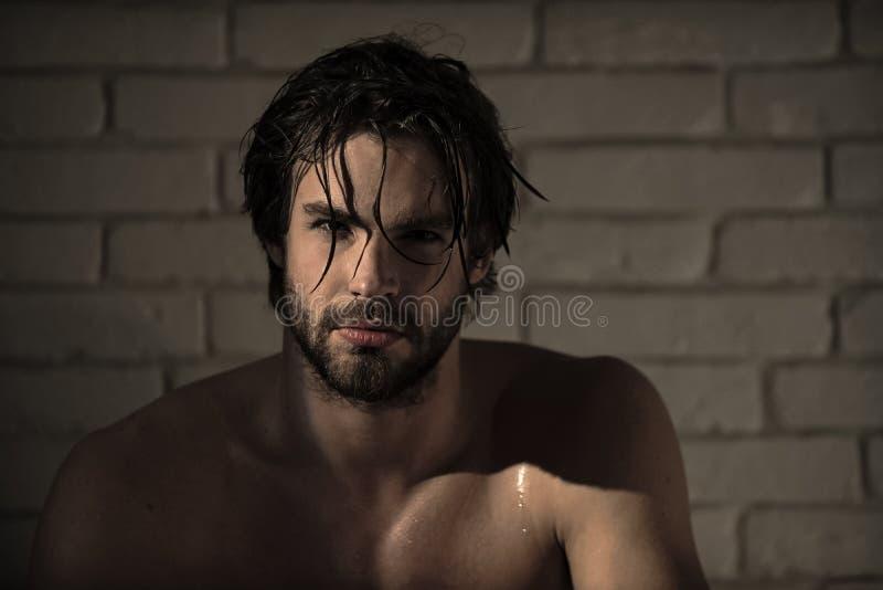 Persoonlijke zorg sexy mens met nat haar, spierlichaam in bad, douche stock afbeeldingen