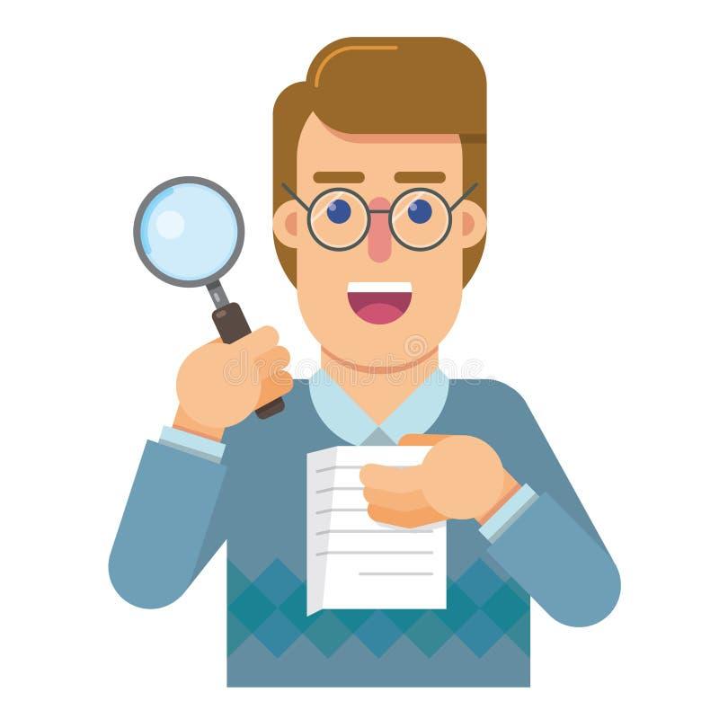 Persoonsafgevaardigde aan de controle die analyseert en de juistheid van het werk onderzoekt royalty-vrije illustratie