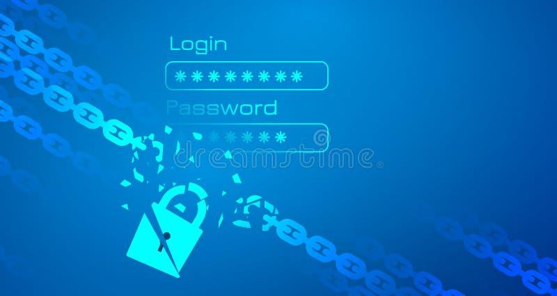 persoonsgegevens binnendrongen in een beveiligd computersysteem thema met ketting vector illustratie