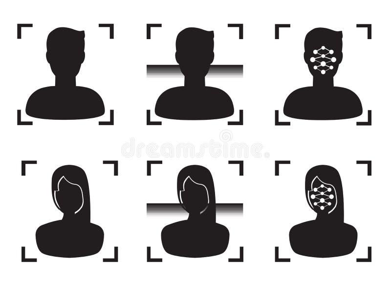 Persoonsgezicht Biometrische Identificatie Vector royalty-vrije illustratie