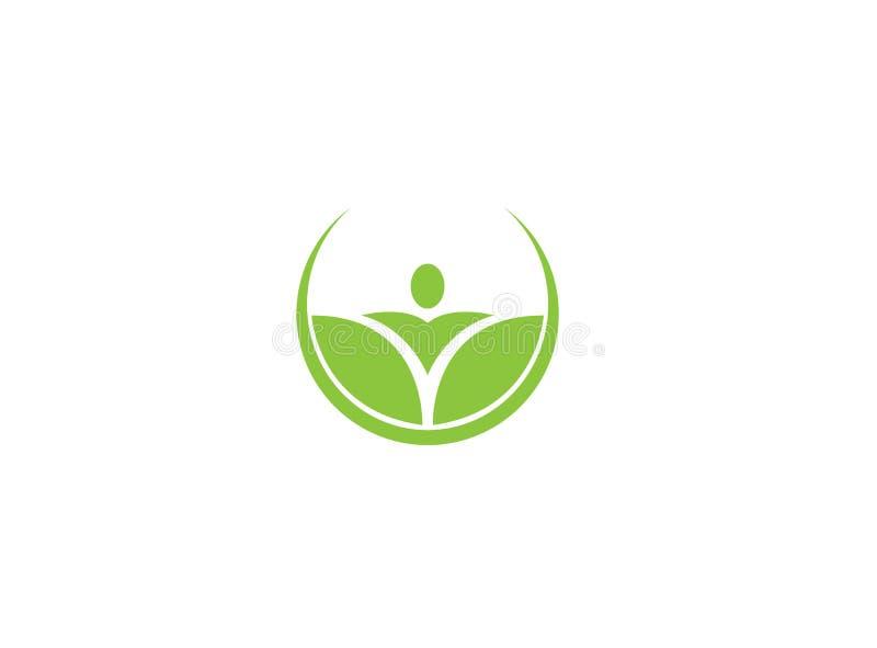 Persoonshanden omhoog in bladeren in een cirkel, creatief Yogasymbool voor de illustratie van het embleemontwerp stock illustratie