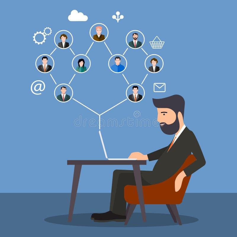 Persoonszitting bij de computer Concept modern zaken en groepswerk Sociale netwerken royalty-vrije illustratie