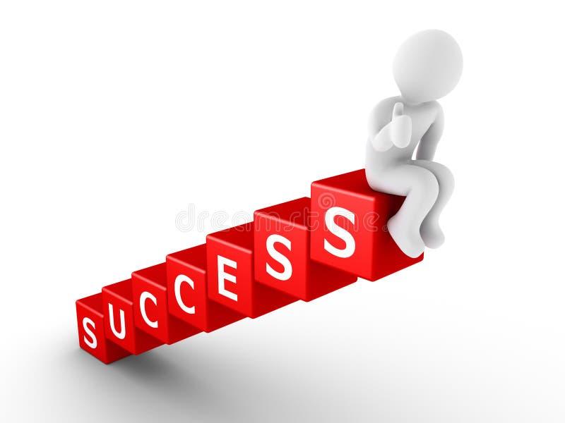 Persoonszitting bovenop succesblokken stock illustratie