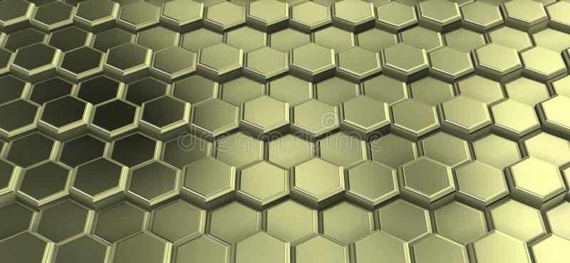 Perspactive de hexágonos metálicos amarelados juntou-se nas fileiras ilustração do vetor
