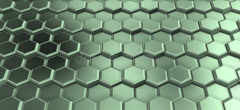 Perspactive de hexágonos metálicos esverdeados juntou-se nas fileiras fotografia de stock