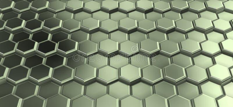 Perspactive dos hexágonos metálicos juntados nas fileiras fotografia de stock royalty free