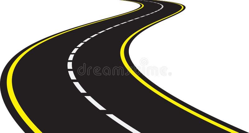 Perspectief van gebogen weg vector illustratie