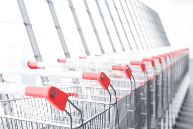 Perspectief van lange rij van supermarktkarren royalty-vrije illustratie