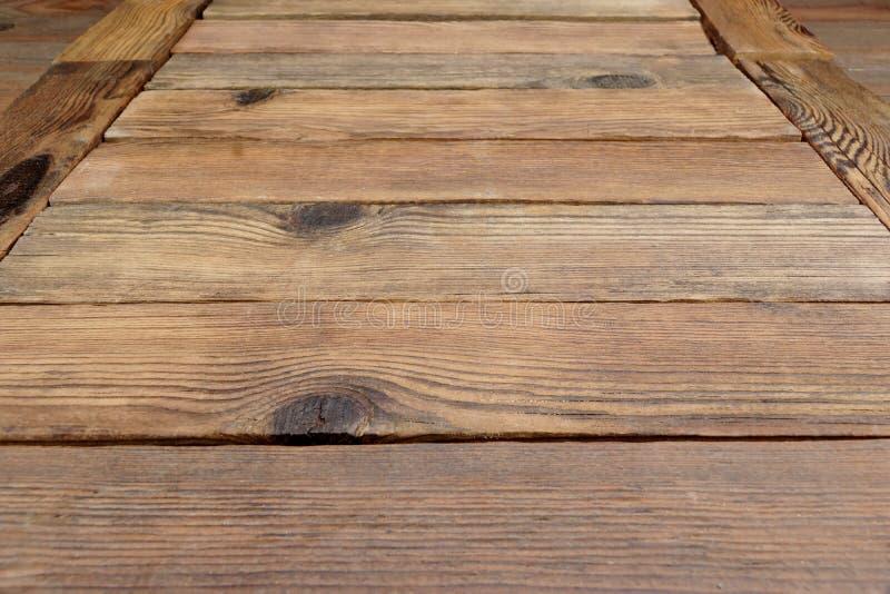 Perspectief van rustieke houten planken of lijst of vloer stock