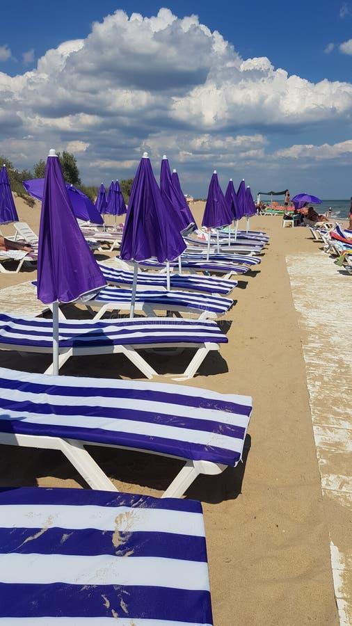 Perspectiefmening aan rij van gestreepte gesloten chaise-longues en purple parasols royalty-vrije stock foto's
