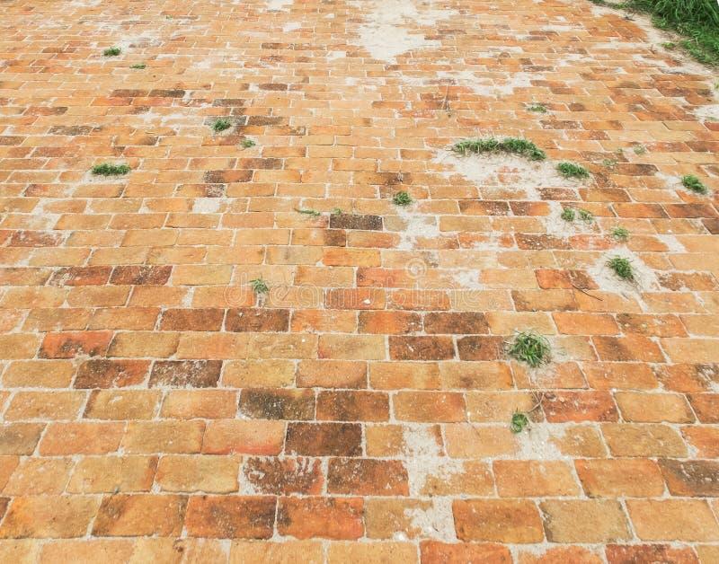 Perspectiefmening van Oranje Baksteensteen ter plaatse met Gras en Zand voor Straatweg Stoep, Oprijlaan, Betonmolens, Bestrating  royalty-vrije stock foto