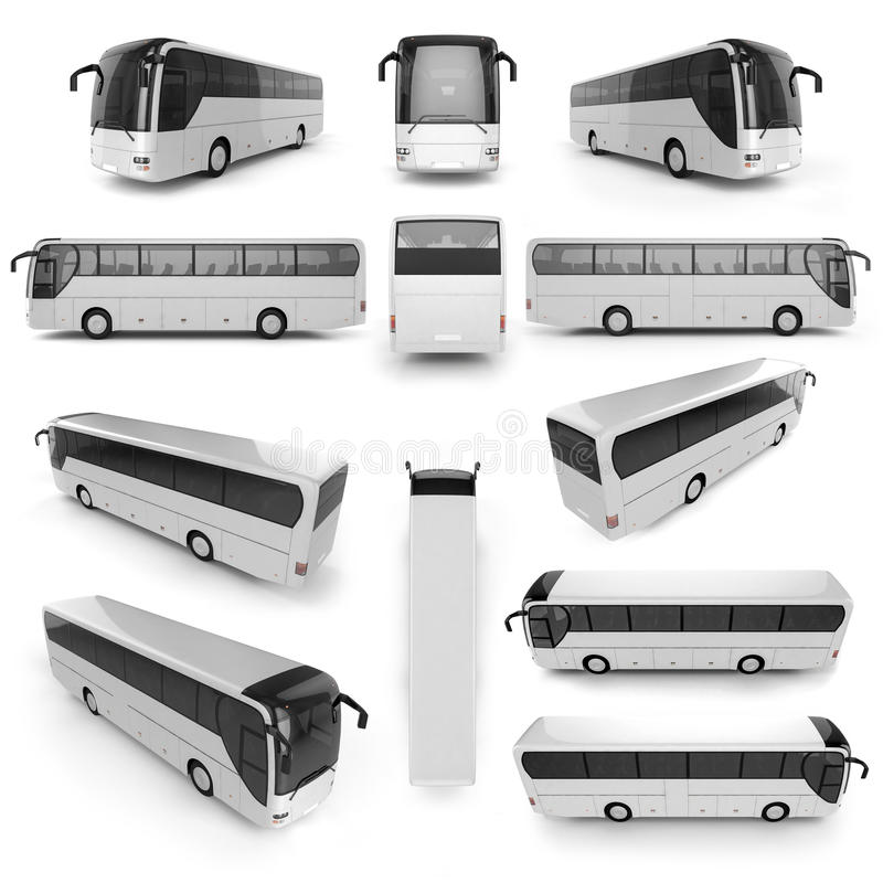 12 perspectiefmening van Stadsbus met lege oppervlakte voor uw crea royalty-vrije illustratie