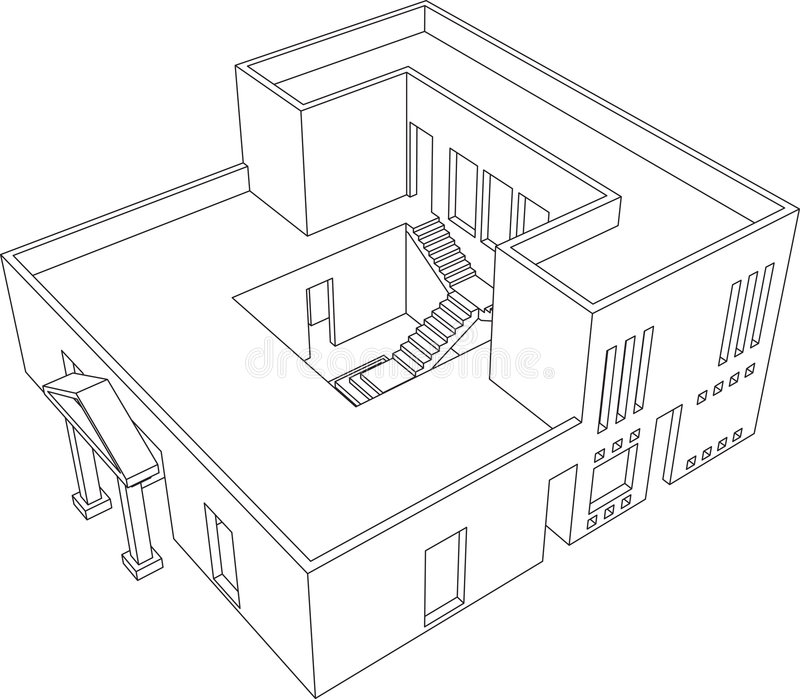 Perspectiva 1 da casa ilustração royalty free