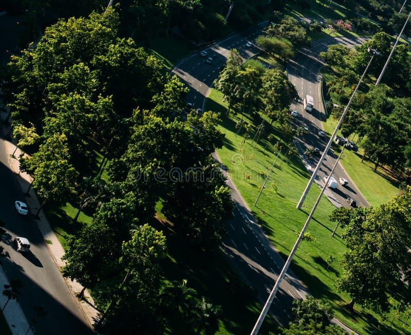 Perspectiva aérea de carros convenientemente diminutos na estrada entre um parque - ângulo holandês deliberado do ângulo alto imagens de stock royalty free