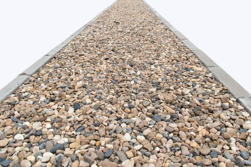 A perspectiva arredondou o isolado da estrada das categorias das pedras das rochas no fundo branco fotografia de stock royalty free