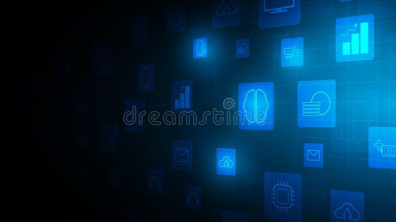 perspectiva azul de la tecnología de icono, fondo vectorial, fondo de la tecnología de la innovación de la comunicación, concepto stock de ilustración