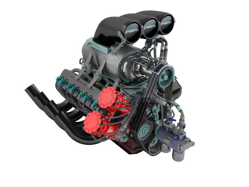 A perspectiva azul vermelha do turbocompressor do carro no 3D esquerdo não rende em um fundo branco nenhuma sombra imagens de stock