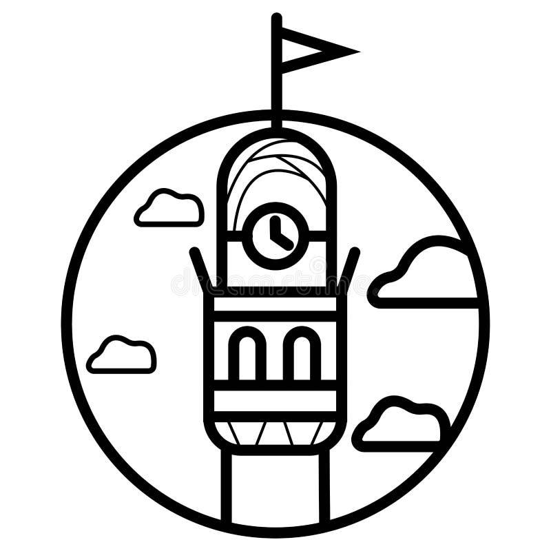 Perspectiva baja del nivel de la calle de la torre de reloj icónica del centro de la ciudad que se eleva San Francisco Fisherman stock de ilustración