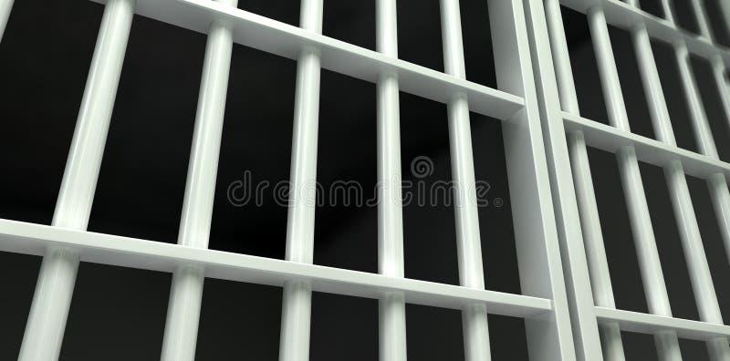 Perspectiva blanca de la celda de prisión de la barra cerrada fotos de archivo